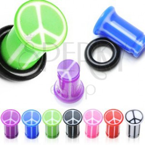 UV ear plug with peace symbol, marbled with rubber band