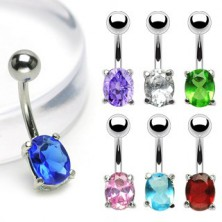 Belly button ring with oval zircon