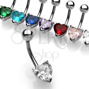 Belly button ring with heart-shaped zircon | Jewelry Eshop