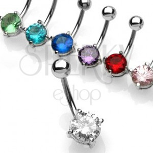 Belly button ring with small round zircon