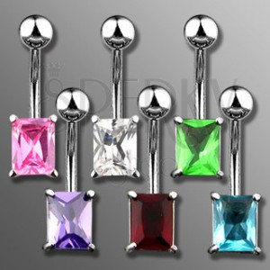 Belly ring with rectangular zircon