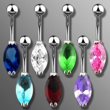 Belly ring with big oval zircon