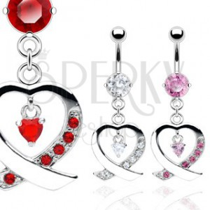 Belly ring with crossed heart decorated with zircons