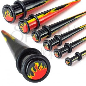 UV acrylic taper with two rubber bands and fiery pattern