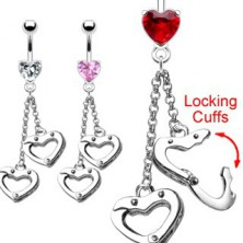 Love handcuffs belly ring