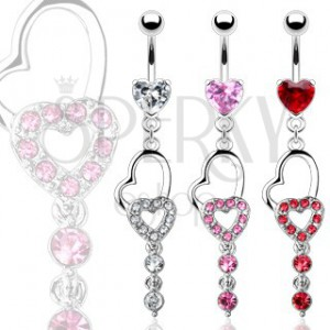 Belly ring - two hearts and two dangle zircons