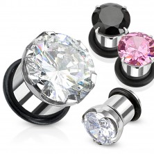 Stainless steel tunel ear plug with zircon and rubber band