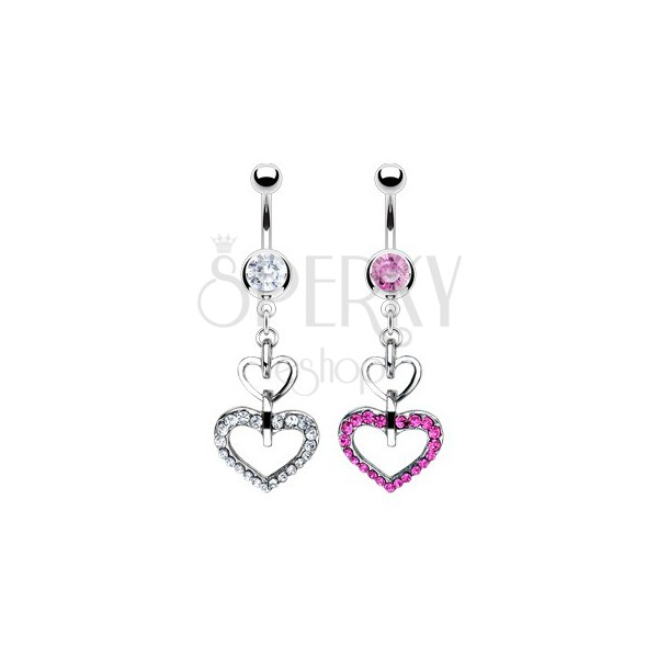 Belly ring - smooth and zirconic heart