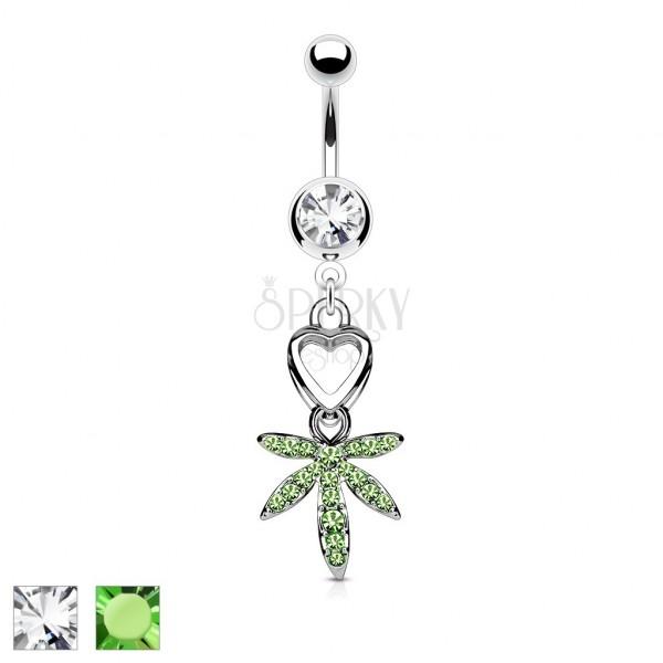 316L steel belly piercing - heart and Marijuana leaf