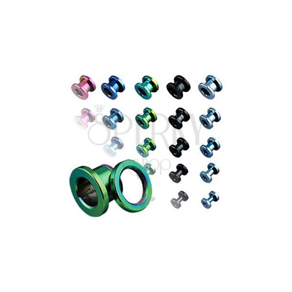 Titanium ear tunnel, anodized, multicolored with thread