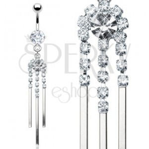 Luxurious belly ring made of steel with zircon wind chime