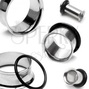 Ear piercing - steel tunnel with curved edge and rubber O-ring