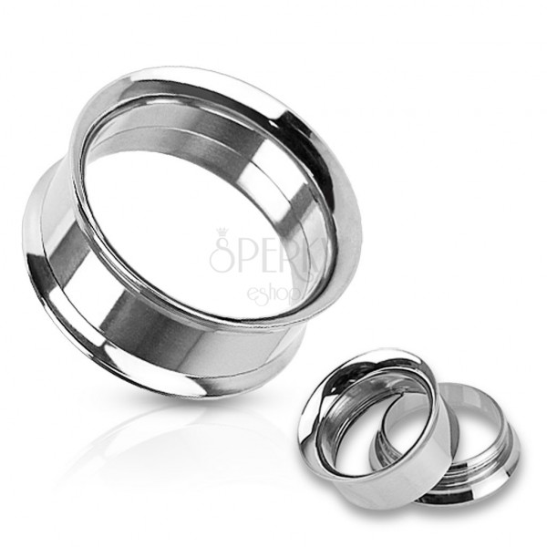 Ear piercing - steel tunnel with curved edges
