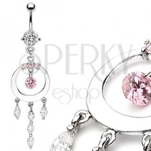 Luxurious belly ring with shiny circle and zircons