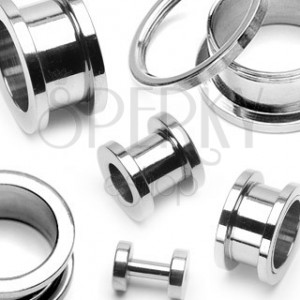 Surgical steel tunnel in barbell shape with screw fit