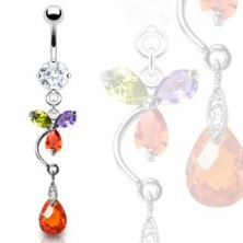 Colorful luxurious flower belly ring with red drop