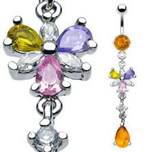 Luxurious belly ring with 6 floral petals and honey-coloured dangle zircon