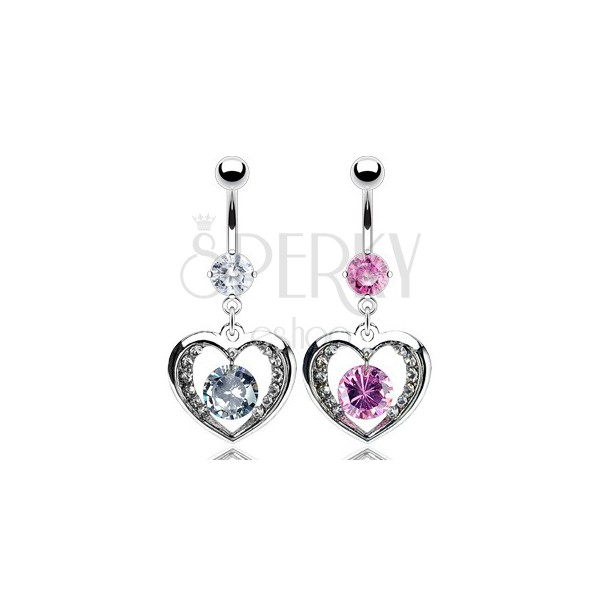 Belly ring with zircon in inside heart pendant
