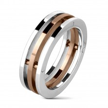 Steel ring - three strips, middle strip in copper color