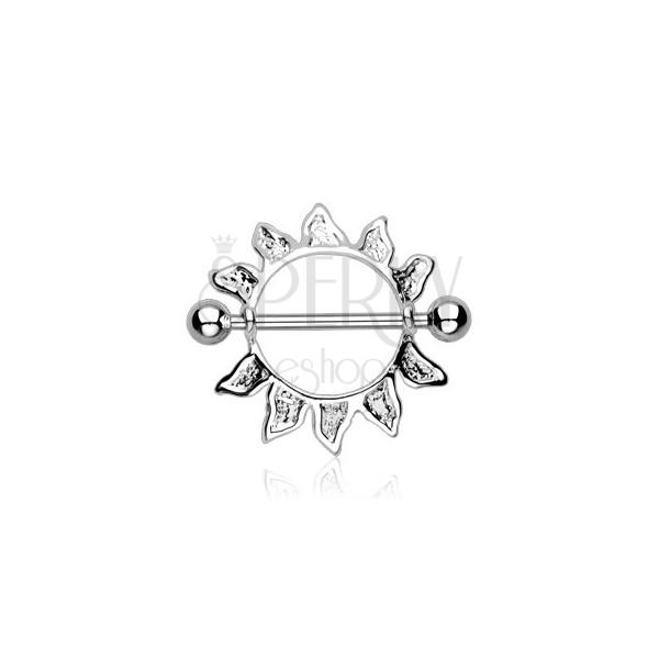 Stainless steel nipple piercing - sun contour, 2 pieces