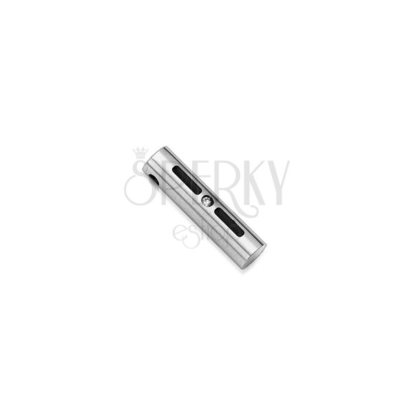 Stainless steel cylinder pendant with gem stone