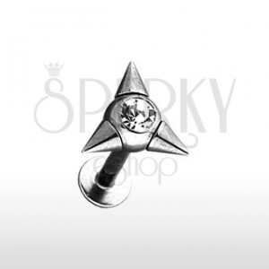 Labret piercing with three spikes and zircon