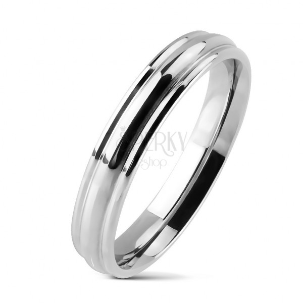 Shiny ring made of stainless steel with rounded central line
