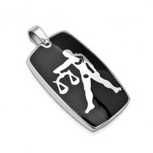 Stainless steel pendant with black colour - Zodiac sign Libra