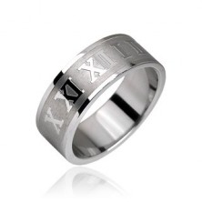Stainless steel ring - Roman numerals with matte background strip
