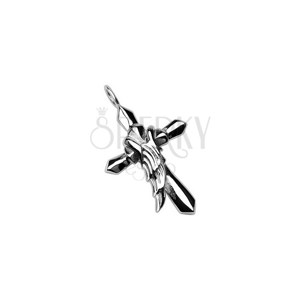 Steel pendant of silver colour - cross with angel wing