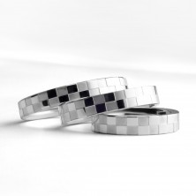 Chessboard pattern stainless steel ring