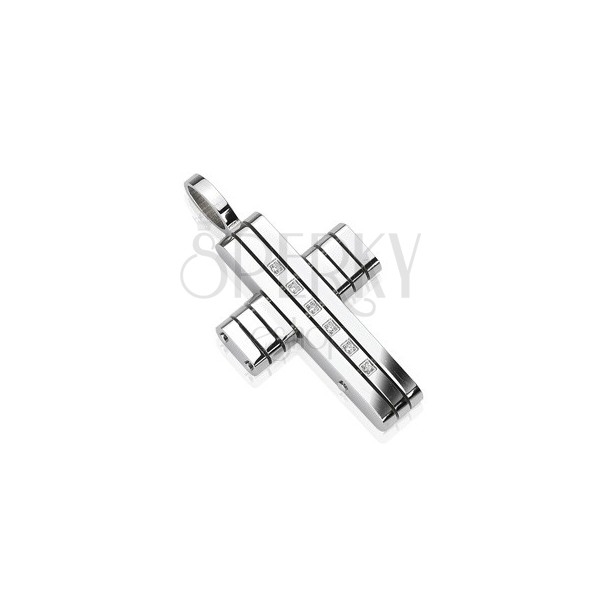 Stainless steel pendant - cross from lines with zircons