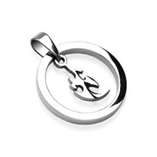Thick stainless steel circle pendant with small Chinese ornament
