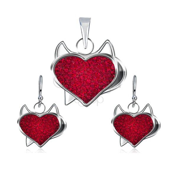 Silver set of pendant and earrings - red zircon heart, devil