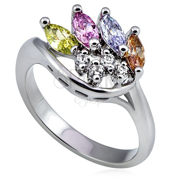 Silver metal ring, crown made of colourful and clear zircons