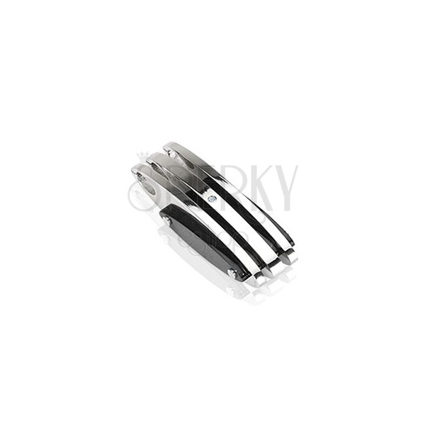 Steel pendant - tri-loops with zircon