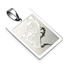 Stainless steel fighting dragons pendant