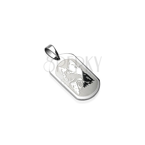 Stainless steel pendant - glossy plate with an image of dog