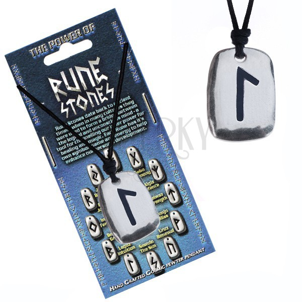 Rune Stone Pendant by Cosmic Pewter Adjustable necklace Growth BERKANA