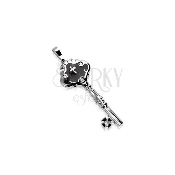 Stainless steel pendant - castle key with balls