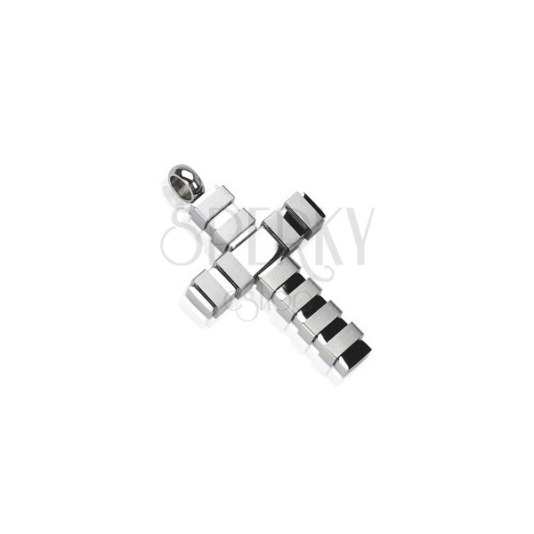 Stainless steel multi band cross pendant