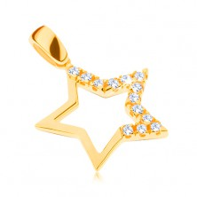 585 gold pendant - big star with ground zircons on three points
