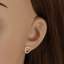 Gold 14K earrings - zircon line heart
