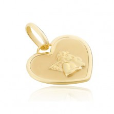 Pendant made of 14K gold - heart tag with shiny angel