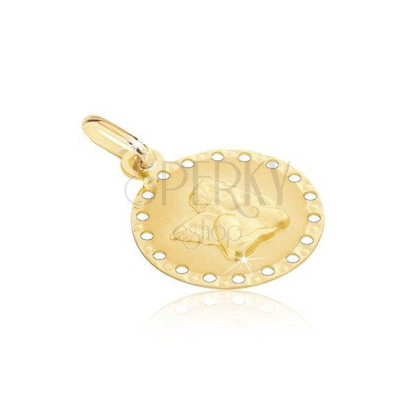 585 gold pendant - round plate with small holes and angel