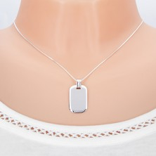 Pendant made of white gold - tag with mirror-shine and bent edges