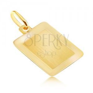Gold 14K pendant - smooth rectangular plate with shiny frame