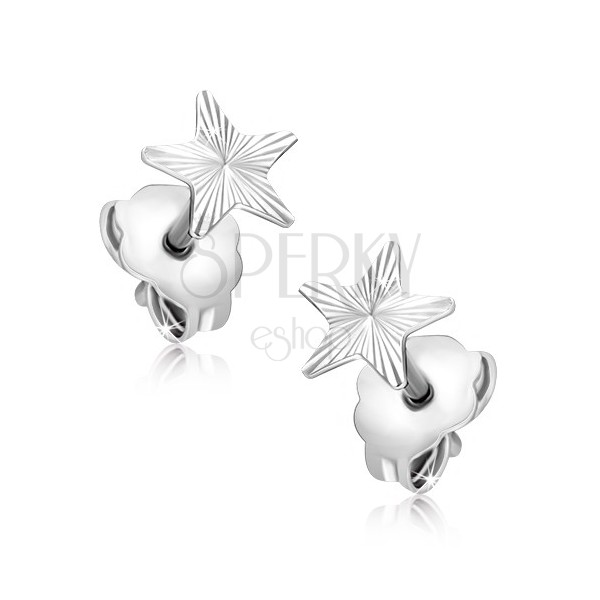 Earrings made of gold - white star with engraved rays