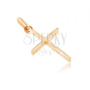 Pendant made of gold 14K - thin cross with high sides