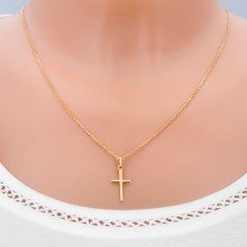 Pendant made of 14K gold - smooth Latin cross with X in the middle